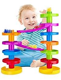 Mehrfarbige Murmelbahn Kugelbahn mit Brücke für Fortgeschrittene. Pädagogisch wertvoller Spaß für Baby und Kleinkind.