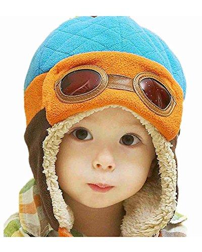 DAYAN Art und Weise kühle Baby-Mädchen-Kind-Kind-Kleinkind Beanie Earflap Hüte Winter-Pilot Aviator Warm-Kappe Farbe Blau