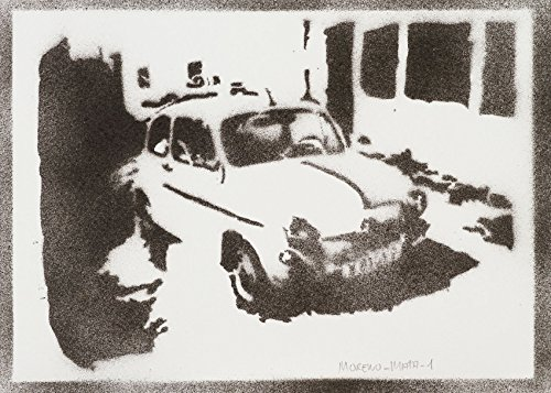 SEAT 600 Automóvil Clásico Hecho A Mano - Handmade Street Art Poster