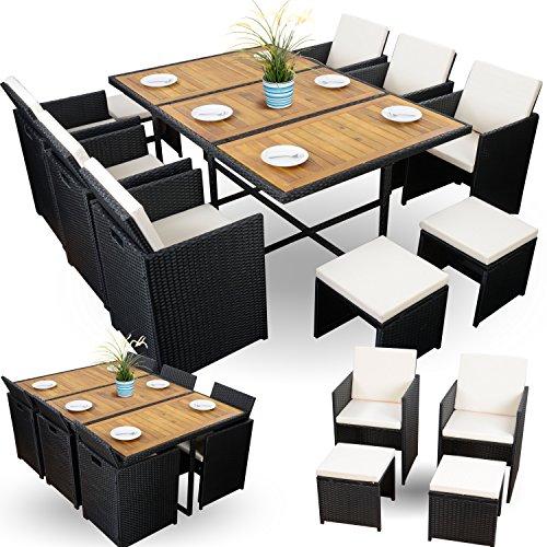 22-tlg. Gartenmöbel Set Rattanoptik Polyrattan günstig Sitzgruppe für Garten 6+4+1 schwarz