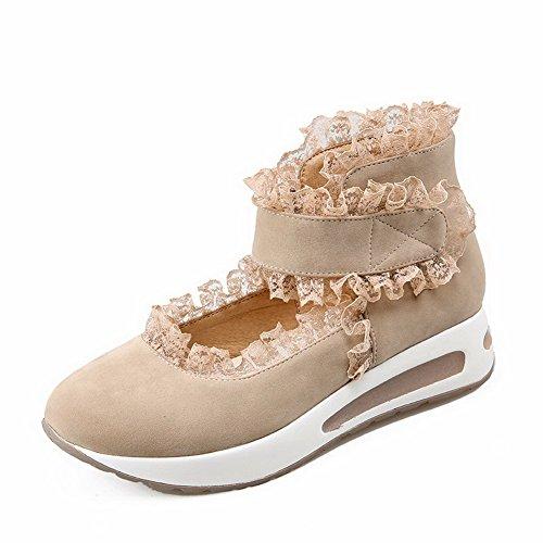 VogueZone009 Femme Couleur Unie Suédé à Talon Bas Rond Velcro Chaussures Légeres Beige