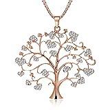 Collier de mode pour les femmes, arbre celtique de collier pendentif avec CZ cristal filles collier à longue chaîne collier strass brillant (or rose)