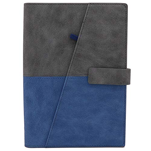 TSY Leder Notizbuch Din A5, Ringbuch, nachfüllbar, lose Blätter, 160 Seiten (Blau)