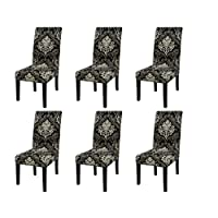 6 pcs Stretch Removable Washable Short Dining Chair Protector Cover Seat Slipcover for Hotel,Dining Room,Ceremony,Banquet Wedding Party Royal Black