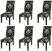 6 pcs Stretch Removable Washable Short Dining Chair Protector Cover Seat Slipcover for Hotel,Dining Room,Cerem