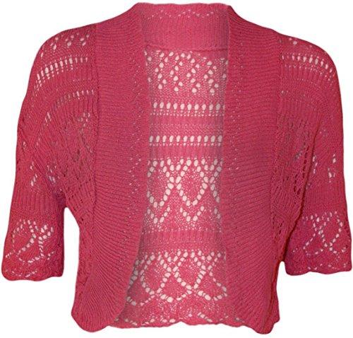 Les femmes knited Chrochet Gilet Boléro Haut Shrugs Cap manches Cericese