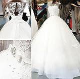 LUCKY-U Brautkleider Hochzeitskleid Elegant Eine Linie Chiffon Brautkleider Schön Hervorragend Weiß Bodenlänge Hochzeitskleid, US 8
