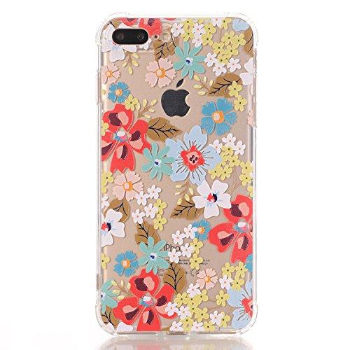 iPhone 7 Plus hüllt, LUOLNH Schlank Stoß- Klare Blumenmuster weiche flexible TPU rückseitige transparent Abdeckung für Apple iPhone 7 Plus [5,5 Zoll] -Blaue Rose Rote Blume