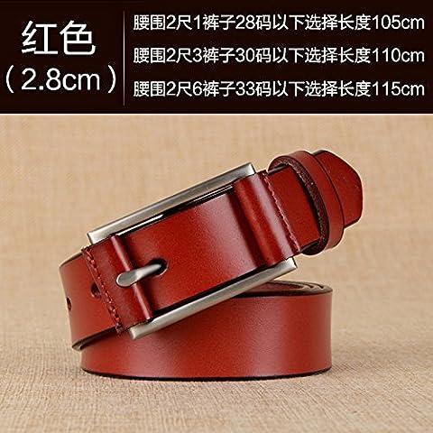 Zhangyong * MS. Ceinture en cuir Cuir Lounge Wild élégante fine, clip ceinture Jeans avec broches femelle, 105Cm, Rouge