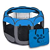 GXL Laufstall für Haustiere, tragbar, zusammenklappbar, für drinnen und draußen, für Kleine Tiere, Welpen, Abnehmbarer Schirm