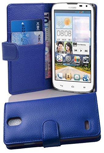 Cadorabo Hülle für Huawei Ascend G610 Hülle in KÖNIGS blau Handyhülle mit Kartenfach aus Struktriertem Kunstleder Case Cover Schutzhülle Etui Tasche Book Klapp Style Königs-Blau