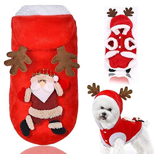 Santa Elch Hund Kostüm Haustier Hoodie Jacke Weihnachten Haustier Hoodie Mantel KleidungLustig Hund Haustier Kleidung Winter Herbst Fit für Hündchen Teddy Chihuahua Yorkshire Pudel Malteser Welpe Mops (Santa Jacke Kostüm)