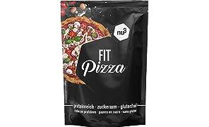 nu3 Fit Low Carb Pizza - 270 g Backmischung ohne Hefe zum selber machen - Vegan - Protein Pizza dank Leinsamen- & Mandelmehl - nur 2 g Kohlenhydrate pro Pizzaboden - fast 15 g Eiweiss pro Teigboden