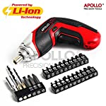 Apollo 3.6V Cordless 1300mAh Lithium-ion Battery 4-LED Power Screwdriver & 26 Piece Accessory Insert & Wood Drill Bit Set for DIY Screwdriving, Repairs, Assembly in the Home, Office, and Workplace