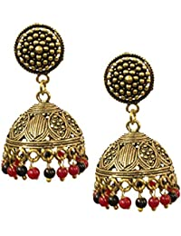 Kaizer Jewelry Stunning Textured Stud Gold Toned Oxidised Jhumki Jhumka Gift For Women / Girls With Black Strin