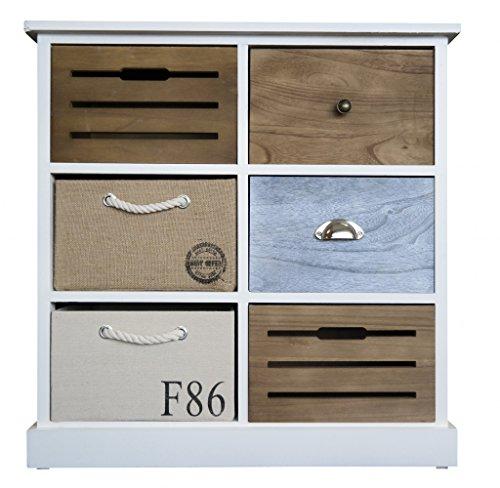 elbmöbel Kommode Schrank mit 6 Schubladen bunt Landhaus weiß Körbe Kiste Sideboard Kordel