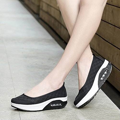 Creeker Mocassin Femme Chaussure Air Slip On Chaussures de Sport Chaussure Bateau Femme Tige Haute Noir2