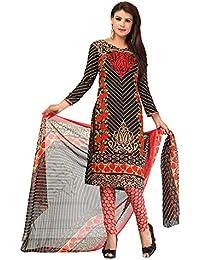 A K Designer Women's Chiffon Dress Material (Mehak9024_Free Size_Black)