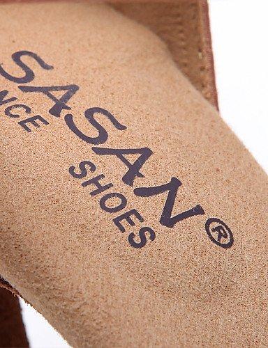 ShangYi Chaussures de danse ( Noir / Autre ) - Non Personnalisables - Talon Bobine - Satin - Latine / Jazz / Moderne / Chaussures de Swing Khaki