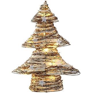 WeRChristmas 48 cm Pre-Lit de ratán LED de luz Blanca cálida de árbol de Navidad con Nieve y Estrellas para decoración, Multi-Color