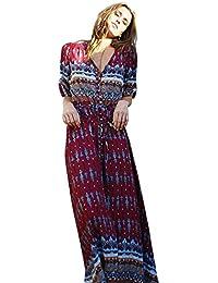 99ae6aca8018 HOMEBABY Boemia Abiti Lunghi Donna Eleganti - Estivi Vestiti Casual Vintage  Maxi Abito Abiti Donna Formale