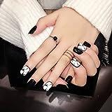 Die besten Falsche Fingernägel - 24pcs Falsche Nägel Schwarz und weiß Tinten- und Bewertungen