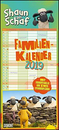 Shaun das Schaf Familienkalender 2019 - Wandkalender - Familienplaner mit 5 Spalten - Format 22 x 49 cm