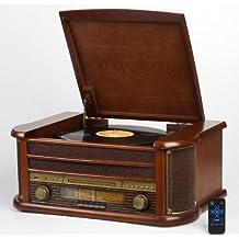 Nostalgie Retro Plattenspieler | Grammophon | Stereoanlage | Musikanlage | Kompaktanlage | Radio | CD PLAYER | USB | FERNBEDIENUNG | Hornlautsprecher | MP3-Encoding: Aufnahme von Schallplatte im MP3-Format … (Platenspieler)