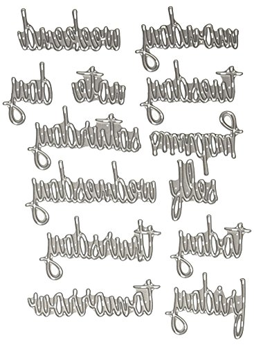 Sizzix Tägliche Worte Schreibschrift von Tim Holtz Thinlits Stanzen Set, 14 in Packung, Stahl, Mehrfarbig, 19.000000000000004 x 14.5 x 0.5 cm - Thinlits Worte Sizzix