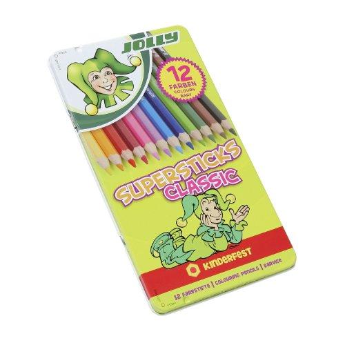 Jolly Buntstifte Supersticks Classic, in Metalletui, mehrfarbig (12 Stück)