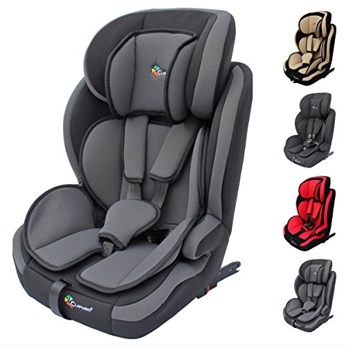 Clamaro 'Guardian Isofix Set' Kinderautositz 9-36 kg mit ISOFIX inkl. Autositzschoner, Kopfstütze mitwachsend, Auto Kindersitz für Kinder von 1-12 Jahre, Gruppe 1/2/3, ECE R44/04, Grau Schwarz