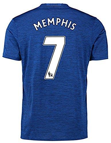 20162017Manchester United 7Memphis Depay Away fútbol fútbol Jersey en Azul Temporada, Hombre, Azul, Extra-Large
