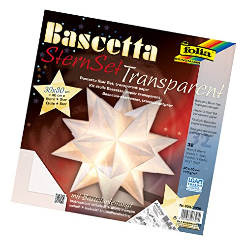 folia 800/3030 - Bastelset Bascetta Stern, Transparent, 30 x 30 cm, 32 Blatt, weiß (Origami-tools)