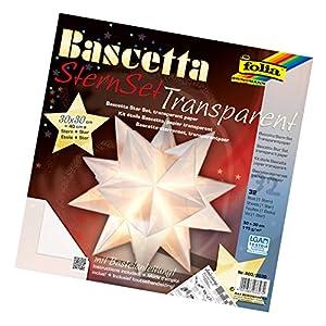 Folia 800/3030 DIY kit Bascetta- Set creativo de estrellas (30 x 30 cm) (32 hojas de papel transparente color blanco) Importado de Alemania