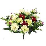 SF FS - Ramo de Flores Artificiales (41 cm, Seda y plástico), diseño de Flores de Color Rojo, Verde y Marfil