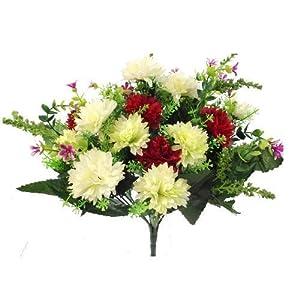 fs – Arbusto de flores artificiales de seda y plástico (41 cm), diseño de madres, color rojo, verde y marfil