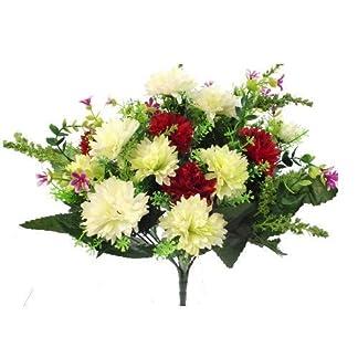 SF FS – Ramo de Flores Artificiales (41 cm, Seda y plástico), diseño de Flores de Color Rojo, Verde y Marfil