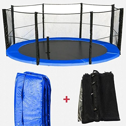We R Sports We R Sports 6ft, 8ft, 10ft, 12ft, 14ft, 16ft Replacement Trampoline Spring Cover Padding & Safety Net Bundle (14ft Net & Pad (8 Poles))