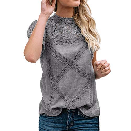 iHENGH Damen Sommer Top Bluse Bequem Lässig Mode T-Shirt Blusen Frauen Womens Lace Patchwork Flare Rüschen Kurzarm niedlichen Blumenhemd Bluse Top(Grau, 4XL)