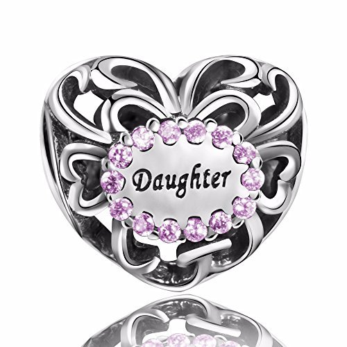 ANGEMIEL 925 Sterling Silver Heart Purple CZ Charms Fit Pandora Bracelet Gifts for Women Girls Daughter
