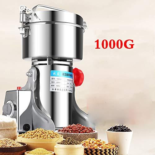 Elektrischer Getreidequetscher 1000G, Fräsmaschine, die Handelsnahrungsmittelgrad-Edelstahl-Kräutergewürz-Getreide-Pfeffer-Kaffee-Pulver schwingt,1000G