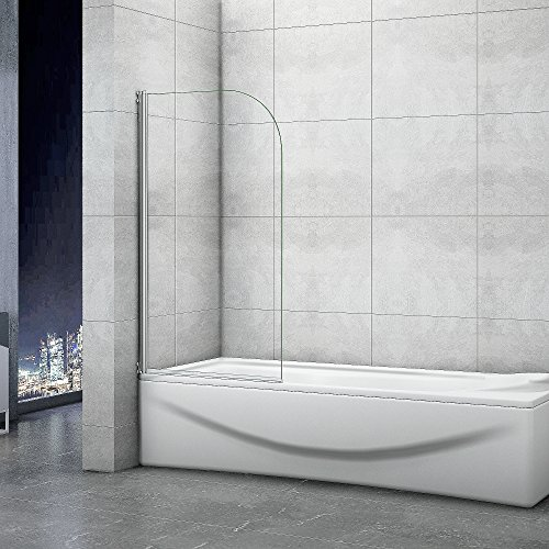 Badewannenaufsatz 80x140cm Duschabtrennung Duschwand für Badewanne 5mm Sicherheitsglas
