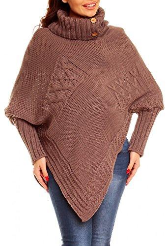 Happy Mama. Donna poncho prémaman a maglia. Collo alto maniche lunghe. 312p (Cappuccino, ONE SIZE (Knit Poncho Modello)