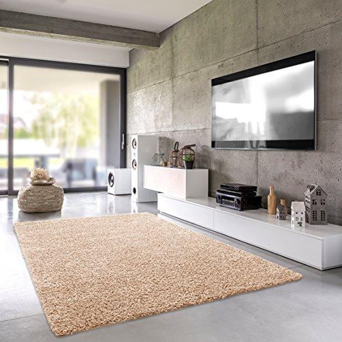 Shaggy-Teppich | Flauschiger Hochflor fürs Wohnzimmer, Schlafzimmer oder Kinderzimmer | einfarbig, schadstoffgeprüft, allergikergeeignet in Farbe: Beige; Größe: 200 x 250 cm Grün Schwarz Beige-teppich