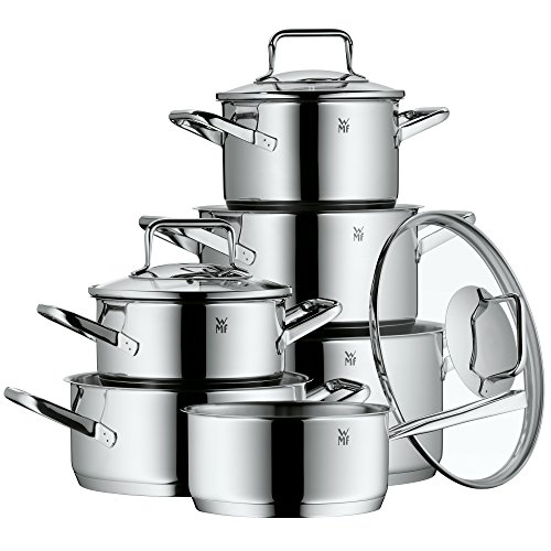 WMF Pot Set 6-Piece Trend Made in Germany Hollow Handles Glass Lid Cromargan® Stainless Steel Polished Suitable for Induction Hobs Dishwasher-Safe