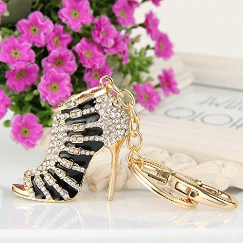 EVER FAITH® Cristal Autrichien Email Chaussure à Talon Haut Porte-clés Noir, Doré