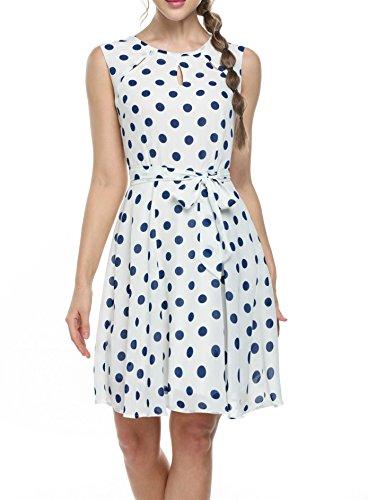 Zeagoo Damen Elegant Strandkleid Chiffonkleid A-Linie Bedrucktes Kleid mit Punkten Gürtel (Geraffte Seiden-chiffon-kleid)