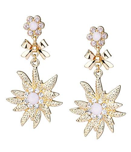 SIX Lange Damen Ohrringe, gold, Edelweiß, Schleifen, Blumen aus rosa Strasssteinen, Oktoberfest (732-645)
