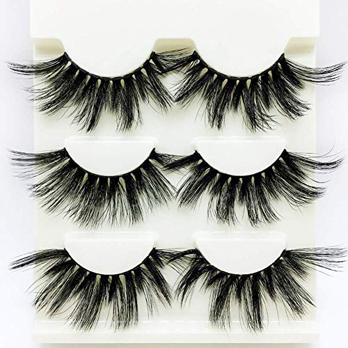 Kostüm Paare Erstaunliche - Drag Queen Lashes stage Exaggerated Fancy Dress False Eye Lashes Fluffy Thick Mink Handmade Long (Schwarzes 3 Paare)