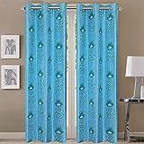 Queenzliving Secret Linen Curtain, Door 7 feet- Pack of 2, Sky Blue